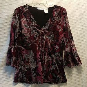 NWOT Worthington M v-neck blouse with front pleats